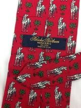 Brooks Brothers TIE Silk Zebra Safari Pattern Red 100% Silk Animal Pattern - $38.95