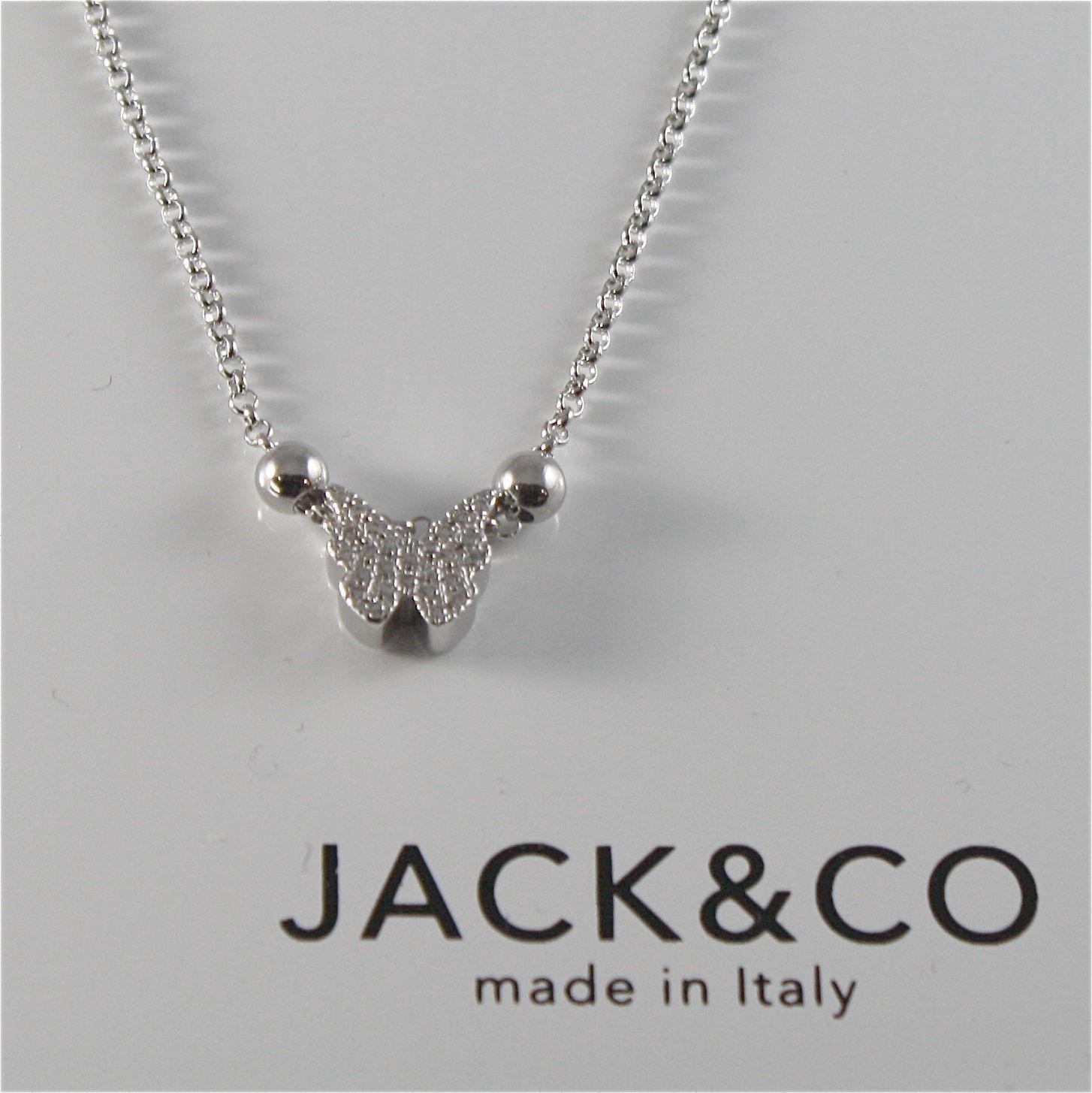 COLLANA A PALLINE IN ARGENTO 925 JACK&CO CON FARFALLA CON ZIRCONIA JCN0525
