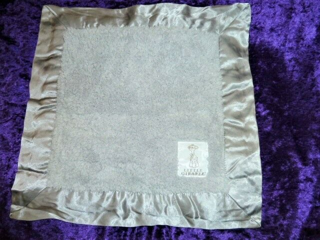 Little Giraffe Gray Chenille Mini Blankie Security Blanket Baby Satin Silver - $36.13