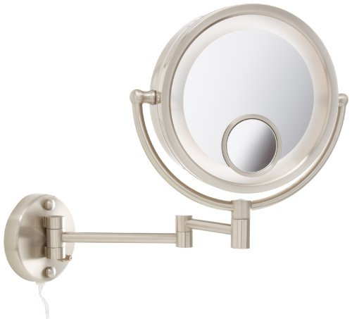 Jerdon HL8515N Lighted Wall Mount Makeup Mirror with 7x ...