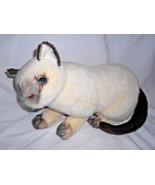1992 Siamese Cat Kitten Plush Stuffed Animal Sitting TCA Group Cream Brown - $26.18