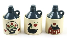 Set of 3 Mini Jug Canisters with Blue Lids, Country Flower, Duck, House ... - $19.79