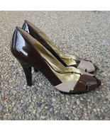 Alfani Patent Leather Brown Peep Toe Heels Size 9.5 - $18.99