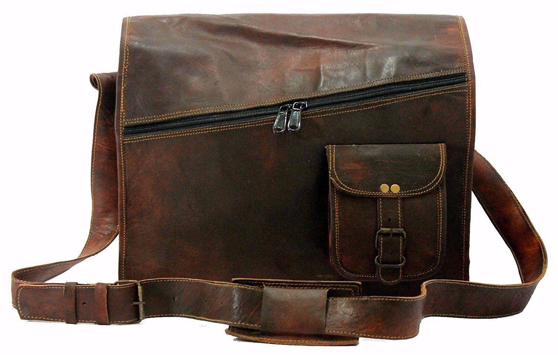 58e4ddc747 Stylish Men s Vintage Brown Leather Full Flap Messenger Laptop Shoulder Bag
