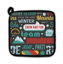 Potholder, Pattern With Snowboarding Stuff And Words Flat Design - $27.44
