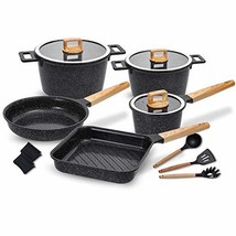 Ceramic Cookware Set Non-Stick Dishwasher Safe Scratch Resistant 100% PFOA Free  - £186.42 GBP