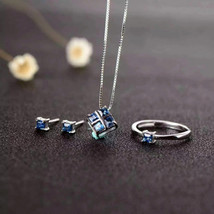 Natural sapphire sterling silver fashion jewelry sets - $88.00