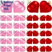 Willbond 48 Pieces Valentine Heart Baubles Heart Shape Ornament Electrop... - $25.10