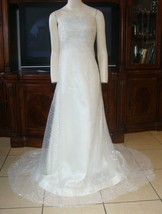VERA WANG Strapless Wedding Dress Bridal Gown Sequins Ivory Tulle Overlay  - $841.50