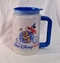 """Walt Disney World 25 Yr Mickey Mouse Travel Cup Mug Clear w Blue Lid 6"""" tall - $9.94"""