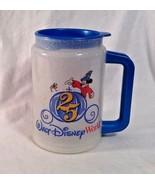 """Walt Disney World 25 Yr Mickey Mouse Travel Cup Mug Clear w Blue Lid 6"""" ... - $9.94"""