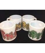 Vintage 70'S Flower MILK GLASS MUGS lot of 4 dotted flowers green red yellow - £29.36 GBP