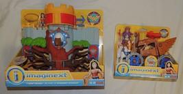 Nouveau Fisher Price Imaginext Wonder Woman Themyscira Île & Reine Hippo... - $29.64