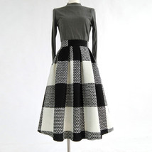 2020 Winter PLAID Midi Holiday Outfit Women Wool Plaid Party Skirt Plus Size image 12