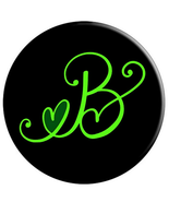 B - Monogram Phone Knob Grip With Dark Green Heart - PopSockets Grip - $15.00