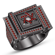 Black Gold Finish Round Red Garnet Engagement Wedding Mens Pinky Star Ba... - $192.99