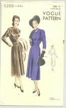 Vogue Sewing Pattern 6200 1940's Misses Formal Dress Size 14 - $17.81