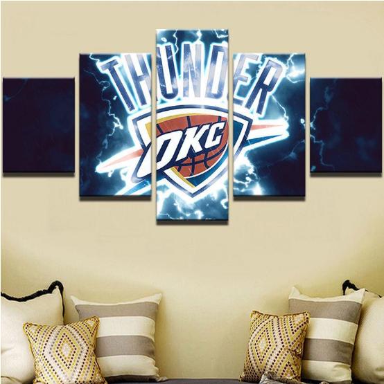 Framed 5 Piece Oklahoma City Thunder Canvas Prints