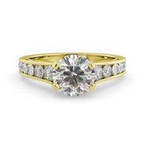 3.50 dwt Round C&C One Moissanite Diamond Graduated Engagement Ring 18k Y Gold - $2,434.00