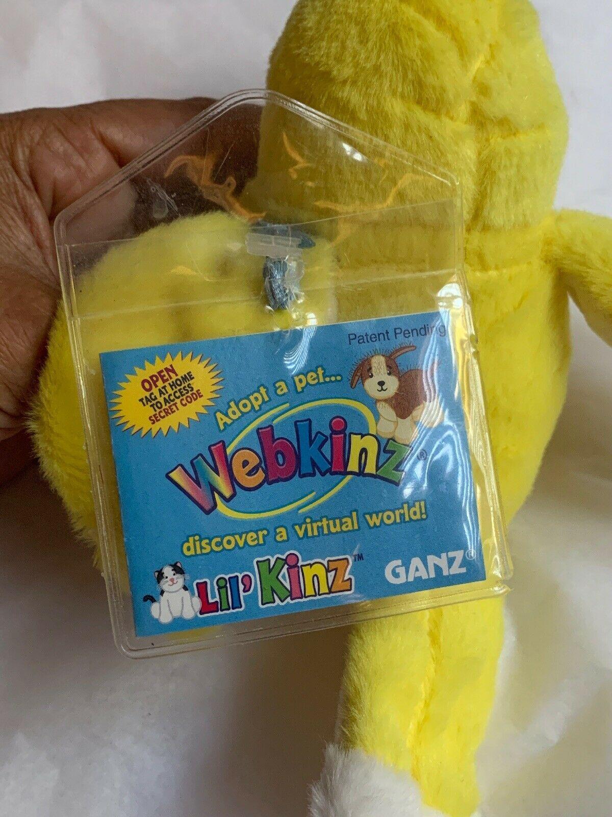 ganz webkinz lil kinz yellow canary bird plush w Code Card • Used Doll Toy Cute image 8