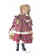 Delton Country Blonde Hair Porcelain Doll Cloth Body With Basket - $39.59