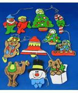 Ornaments Set of 11 Hand Painted Wood Tree Bell Elf 1960s Artisan USA Ha... - $24.00