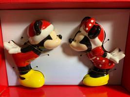 Disney Santa Mickey & Minnie Kissing Holiday Christmas Salt & Pepper Shakers NEW - $18.96