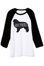 Thread Tank Great Pyrenees Dog Silhouette Unisex 3/4 Sleeves Baseball Ra... - $24.99+