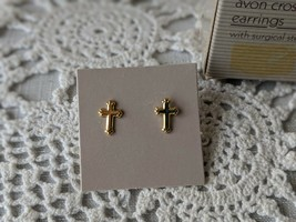 Avon Goldtone Cross Pierced Earrings With Surgical Steel Posts - $7.75