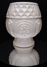 Vintage Hull MCM Art Pottery Matte White Geometrical Footed Planter Vase  - $22.95