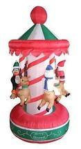 6.5' Inflatable Animated Christmas Carousel Lighted Yard Art Decoration - €116,11 EUR