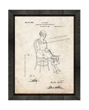 Figure Unit for Dancing Figure Toys Patent Print Old Look with Beveled Wood Fram - $24.95+