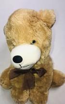 "Dan Dee Collectors Choice Dog Puppy Plush 14"" Tan Stuffed Animal Brown Bow - $21.27"
