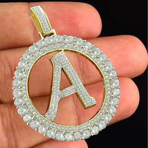 """Round Cut White CZ 14k Yellow Gold Plated 925 Silver Alphabet """"A"""" Letter Pendant - $144.90"""