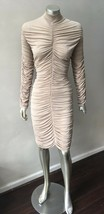 Coffin Ruche Mesh Bodycon Nude Sheer Mock Nude Long Slv Party Plus Dress... - $53.95