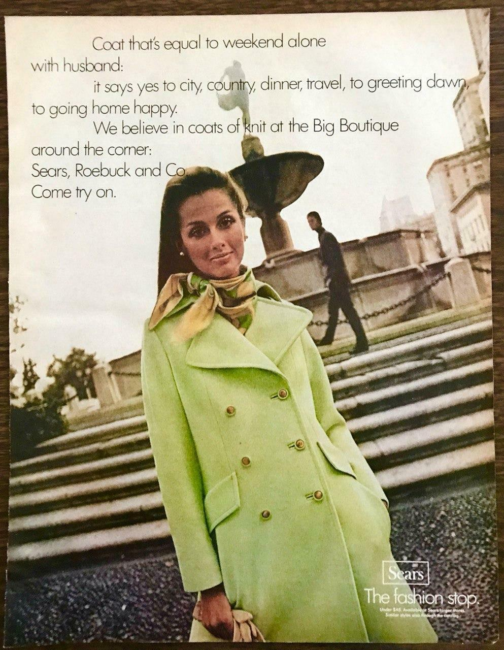 1970 Sears Roebuck & Co Big Boutique PRINT AD Lime Green Knit Coat - $10.70