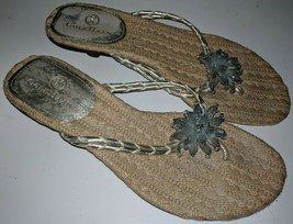 Cole Haan Mindi Jeweled Flower  Heel Thong Silver Sandals Womens 6 - £20.15 GBP