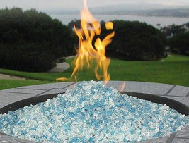 Fire Pit Glass Rocks For Outdoor Propane Gas Fireplace White Ice Crystal... - $37.11