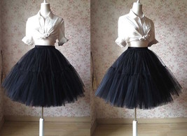 Black Tulle Horse Hair Puffy Elastic Tulle Knee A Line Wedding Skirt NWT image 4
