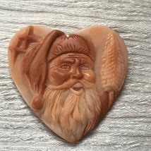 Finely Carved Red & Cream Stone Santa Claus Kris Kringle Head w Stars & ... - $27.90