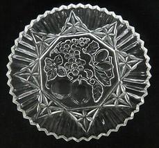 "Federal Glass Pioneer Sandwich Plate 11"" Platter Sawtooth Edge Fruit Center  - $14.84"