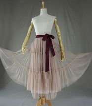 Adult Bridesmaid Tiered Tulle Skirt, Nude Pink Tulle Skirt with Belt,Photo Shoot image 3