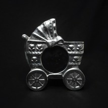 """Baby Carriage Picture Frame Silver Pewter Tabletop for 2.25"""" Diameter Pi... - $23.36"""