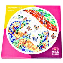 """Ole Mosaic Colorful Printed Cats Kittens with Butterflies 6.75"""" Hanging Trivet image 4"""