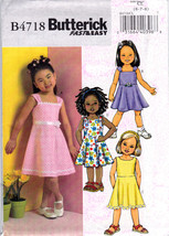 Butterick B4718 Girls Dresses Sewing Pattern Childrens Easy Sew Kids Siz... - $6.45