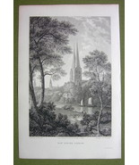 GERMANY Saxony Lubeck Cathedral Domkirche - 1820s Copper Engraving Cpt B... - $16.83