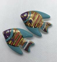 Vintage Retro Ceramic Fish Shape Earrings Pierced Post Turquoise Blue Or... - $14.00