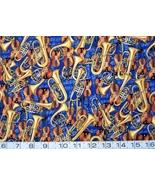 1/2 yd music/violins/tubas/trumpets/horns on blue quilt fabric - free sh... - $11.99