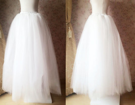 4-Layered White Tulle Skirt White Maxi Tulle Skirt Petticoat White Bridal Tutu  image 3
