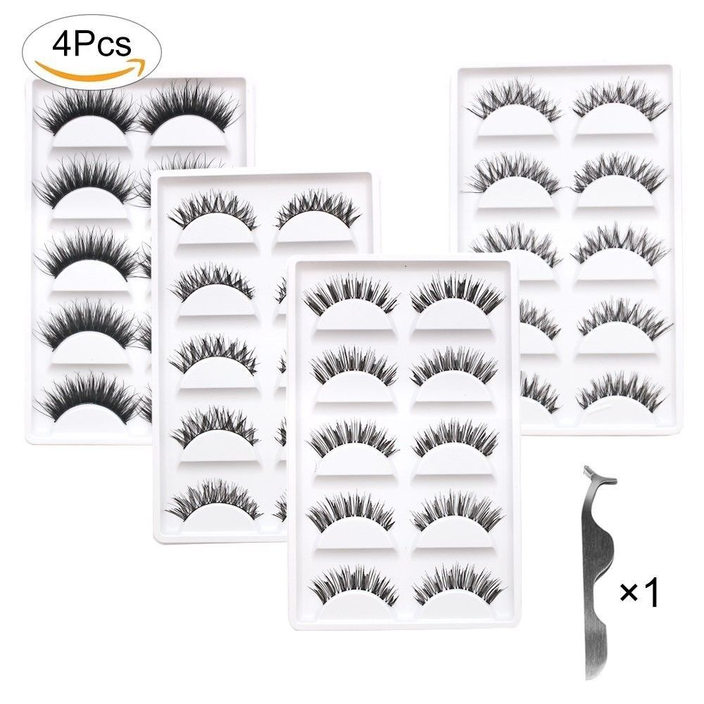 Primary image for Fomei 20 Pair 4 Design Handmade Natural Black Long Thick Eyelashes Fake Cross Ma